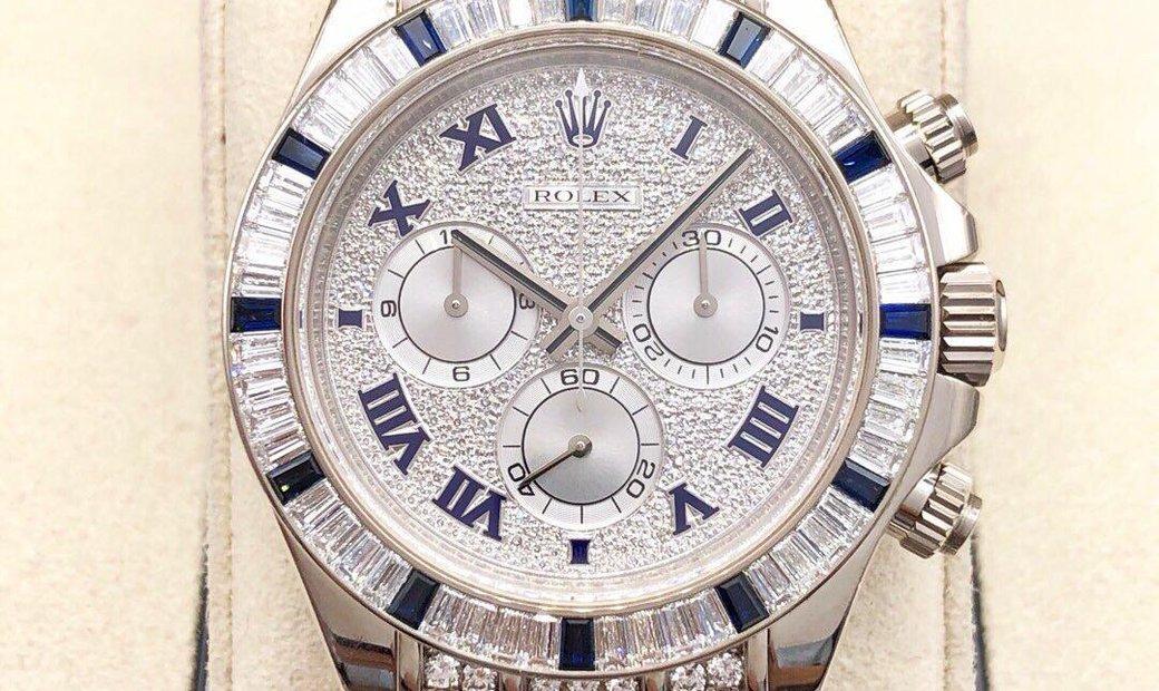 Rolex [NEW] Daytona 11659912SA White Gold Diamond Sapphire Strap Pave Diamond Dial