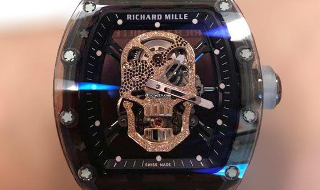Richard Mille [2017 NEW][UNIQUE] RM 52-01 Sapphire Diamond Skull Tourbillon Watch