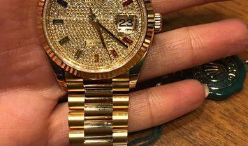 Rolex [NEW] Day-Date President Paved Diamond Rainbow Chronometer Ladies 128238