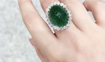 25.15 ct Natural Emerald Ring 18k Gold w/ 2.24ct Diamond