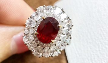 Wear Two Ways, 2.14ct Vivid Red Ruby Royal Ring 18k Gold Diamond, w/ AIGS Certft