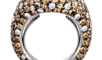 Cantamessa Cantamessa 18K White Gold Diamond and Yellow Sapphire Pave Ring