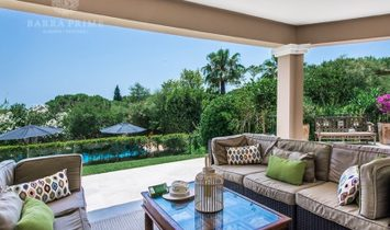 This luxury villa stands in landscaped gardens with views to the sea. It is finished and refurnished