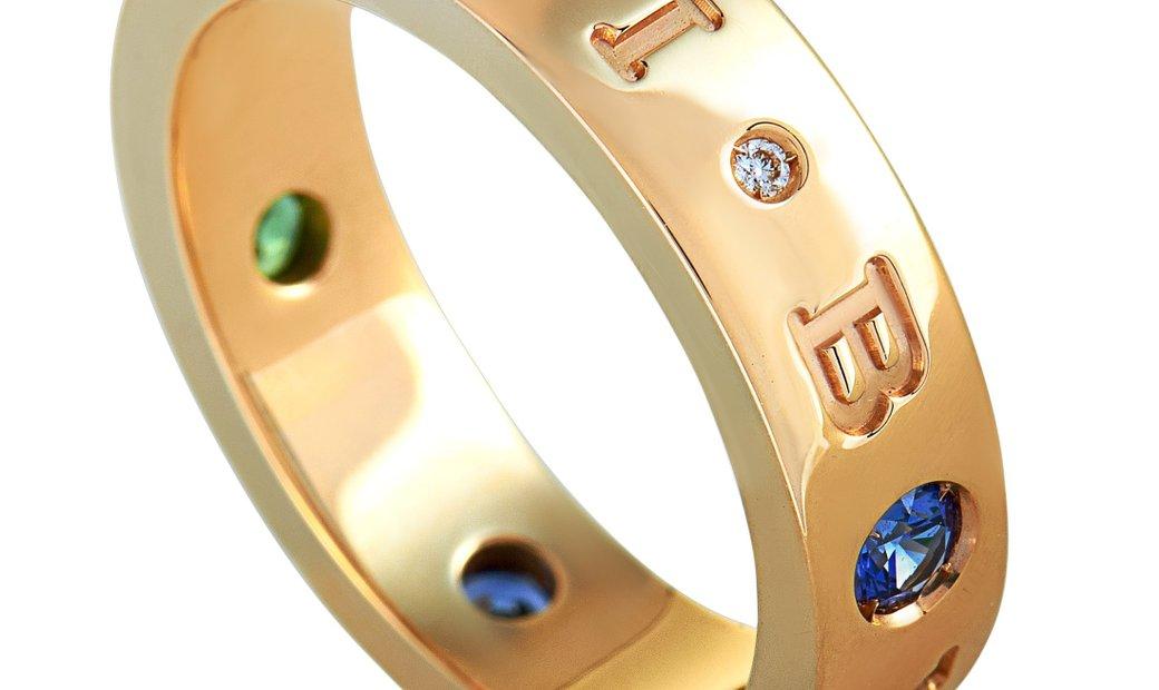 Bvlgari Bvlgari BVLGARI BVLGARI 18K Rose Gold Diamond, Sapphire and Tsavorite Band Ring