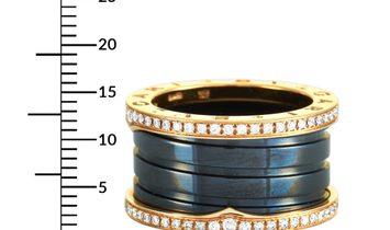 Bvlgari Bvlgari B.zero1 18K Rose Gold and Black Ceramic Diamond Pave 4-Band Ring