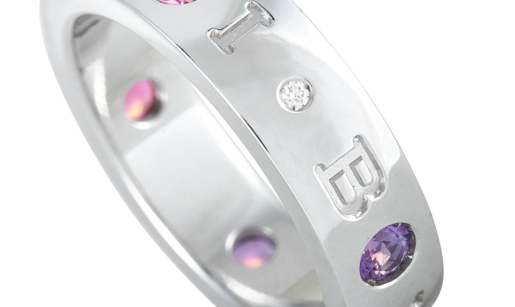 Bvlgari Bvlgari BVLGARI BVLGARI 18K White Gold Diamond, Amethyst and Pink Tourmaline Ring