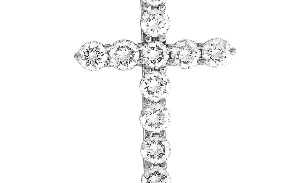 Tiffany & Co. Tiffany & Co. Platinum 0.42 ct Diamond Cross Pendant Necklace
