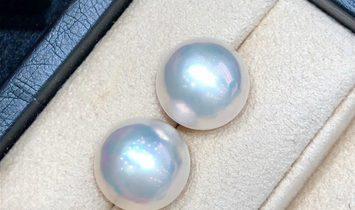 PAIR! AAAA 16-17mm Aurora Loose Mabe Pearl