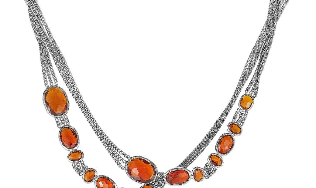 Gucci Gucci Raindrop Silver and Synthetic Orange Stone Necklace