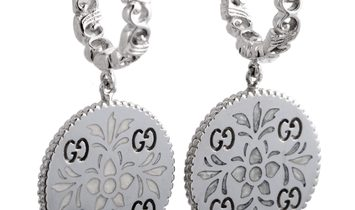 Gucci Gucci Icon Blooms 18K White Gold and Enamel Earrings