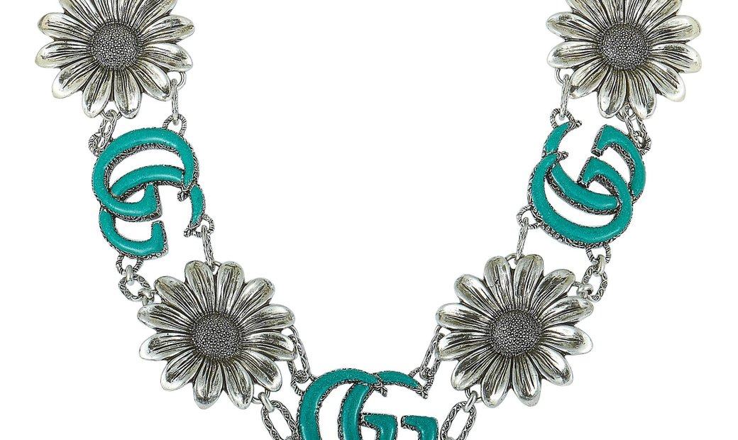 Gucci Gucci GG Marmont Aged Sterling Silver and Turquoise Resin Flower Motif Necklace