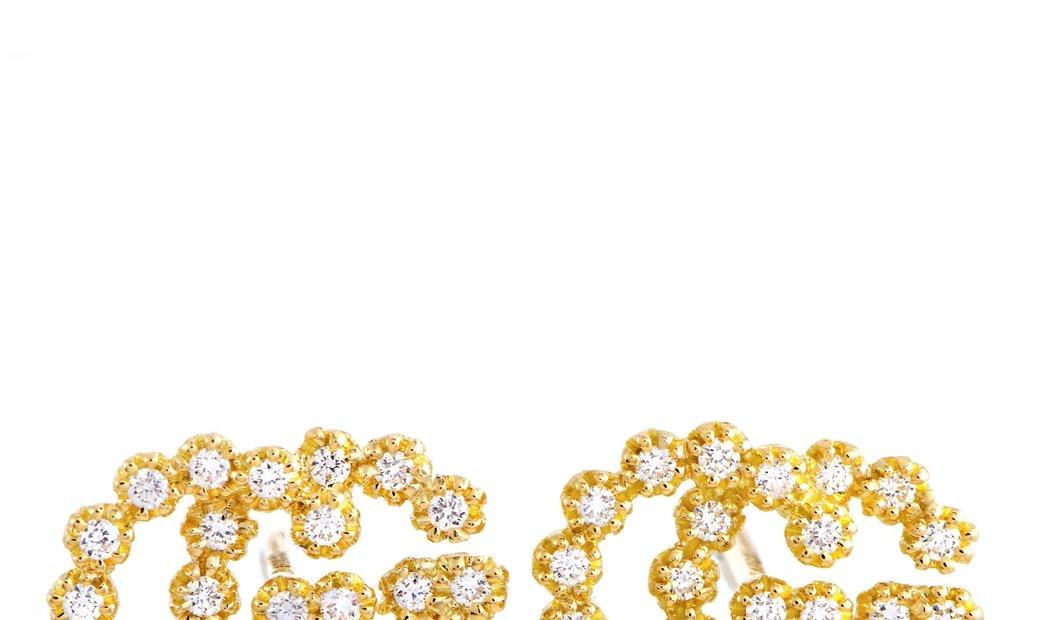 Gucci Gucci GG Running 18K Yellow Gold Diamond Earrings