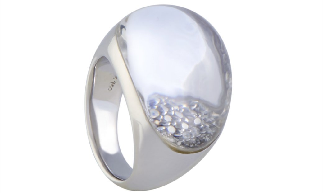 Non Branded 18K White Gold Diamond Pave and Rock Crystal Bombe Ring