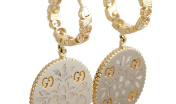 Gucci Gucci Icon Blooms 18K Yellow Gold and Enamel Earrings