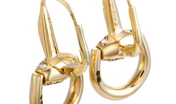 Gucci Gucci Horsebit 18K Yellow Gold Brown Diamond Earrings
