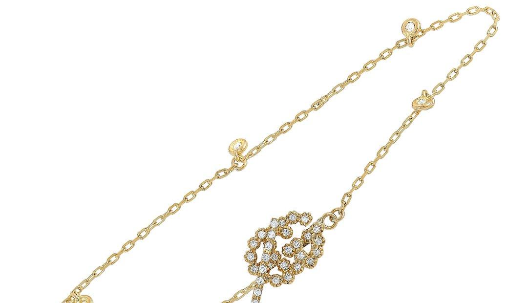 Gucci Gucci GG Running 18K Yellow Gold Diamond Bracelet Size 17