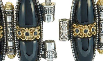 Konstantino Konstantino Sterling Silver Onyx and Spinel Bracelet