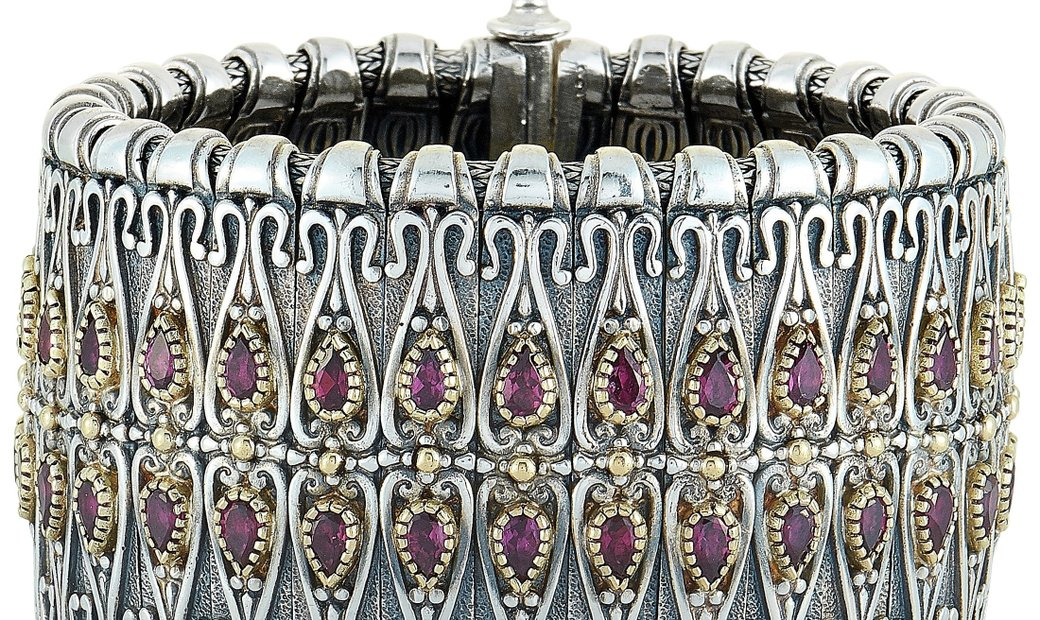Konstantino Konstantino 18K Yellow Gold and Sterling Silver Rhodolite Bracelet