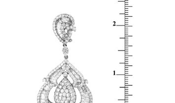 LB Exclusive LB Exclusive 18K White Gold Round,Baguette and Tapered Baguette Diamond Pave Dangle Ome