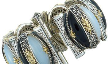 Konstantino Konstantino Sterling Silver White and Black Agate Bracelet