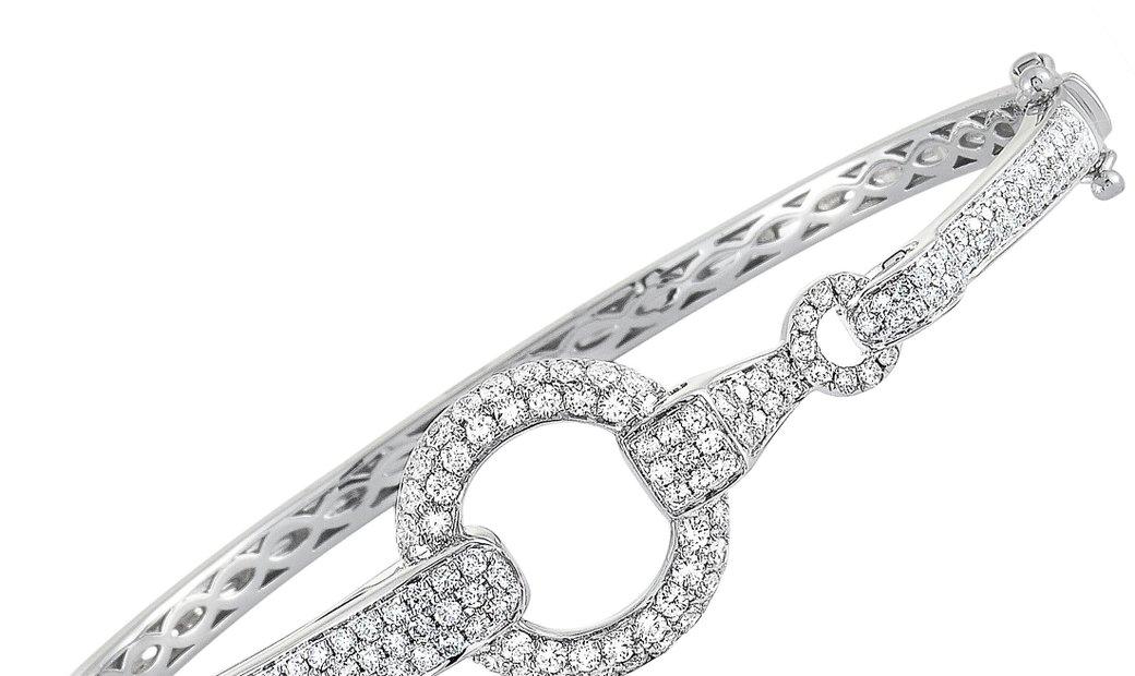 LB Exclusive LB Exclusive 18K White Gold ~1.70ct Diamond Bangle Bracelet
