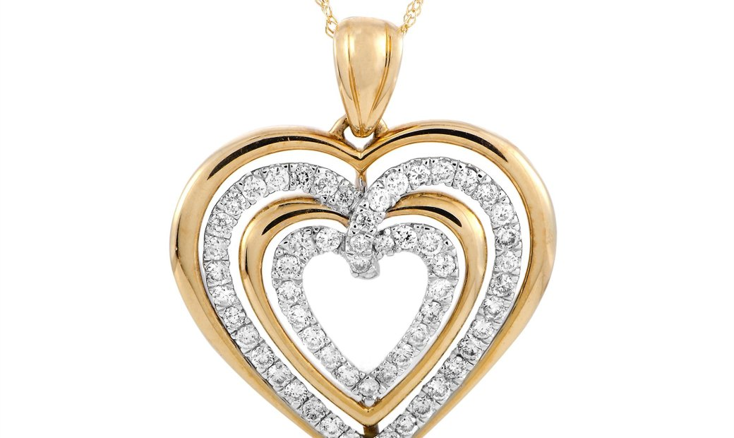 LB Exclusive LB Exclusive 14K Yellow and White Gold Diamond Heart Pendant Necklace
