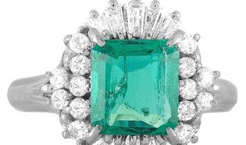 Non Branded Platinum Diamond and Emerald Ring