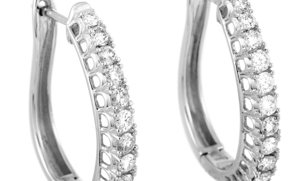LB Exclusive LB Exclusive 14K White Gold Diamond Hoop Earrings
