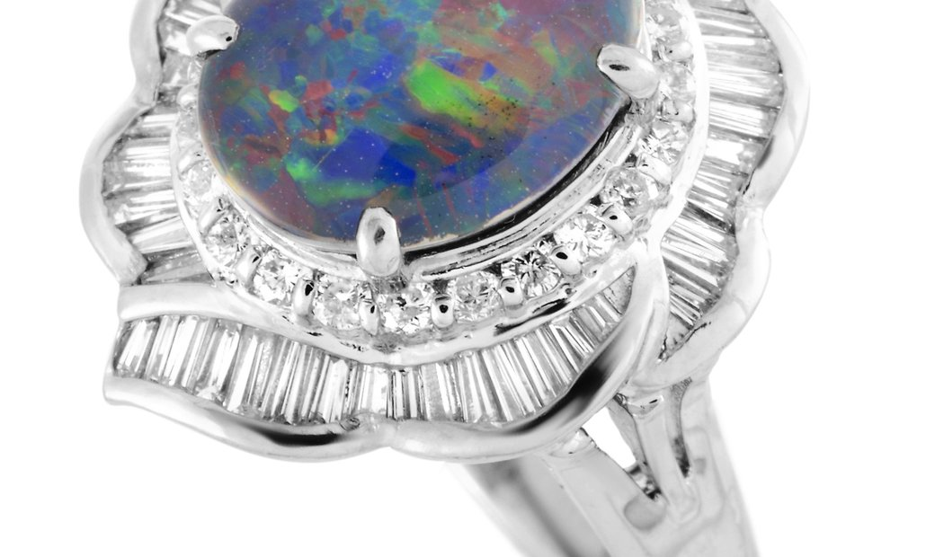 LB Exclusive LB Exclusive Platinum Round and Tapered Baguette Diamonds and Opal Oval Ring
