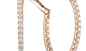 LB Exclusive LB Exclusive 18K Rose Gold 3.00ct Diamond Hoop Earrings