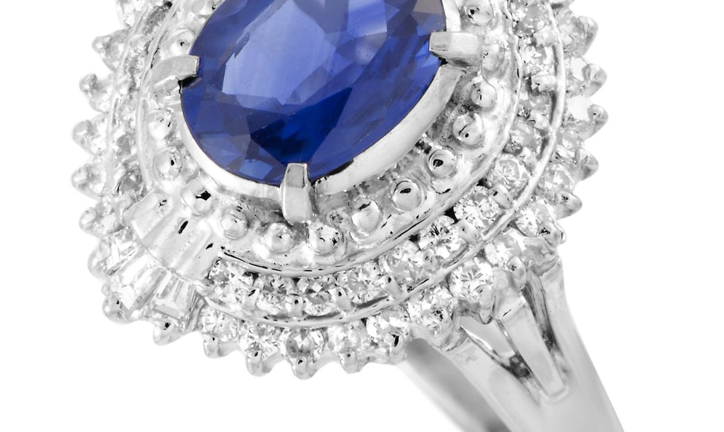 Non Branded Platinum Diamond and Sapphire Oval Ring