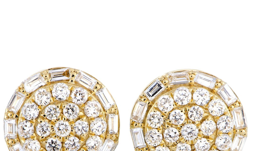 LB Exclusive LB Exclusive 18K Yellow Gold Diamond Pave Stud Earrings