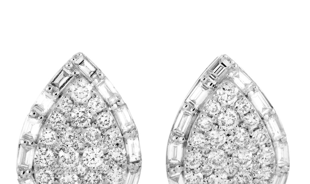 LB Exclusive LB Exclusive 18K White Gold Diamond Pear Earrings