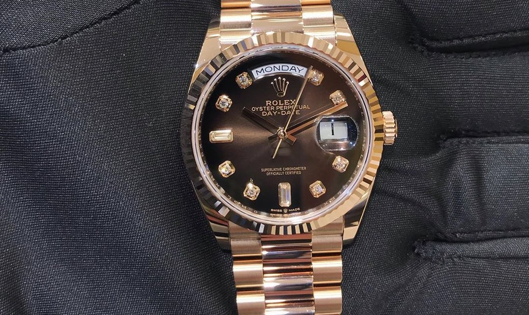 Rolex Day-Date 36 128235 A in 18 CT Pink Gold Alloy