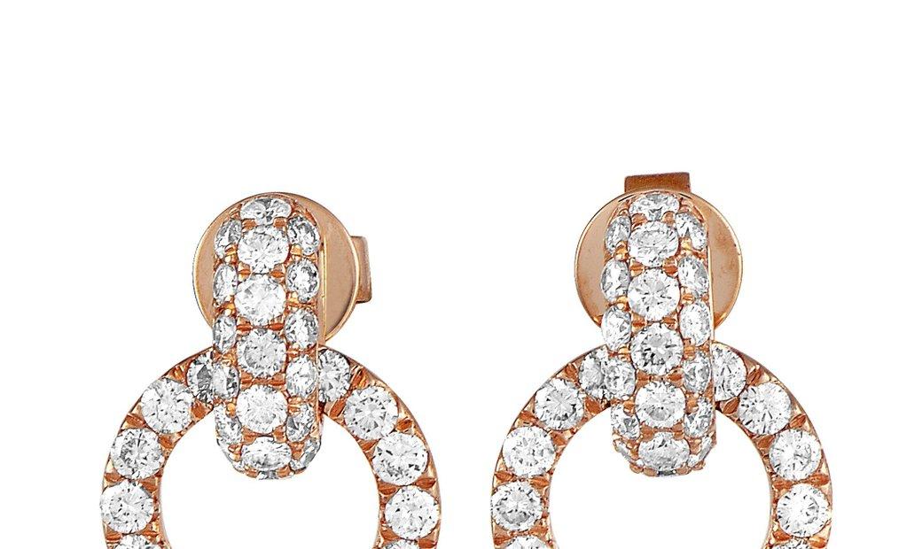LB Exclusive LB Exclusive 18K Rose Gold Full Diamond Link Dangle Push Back Earrings