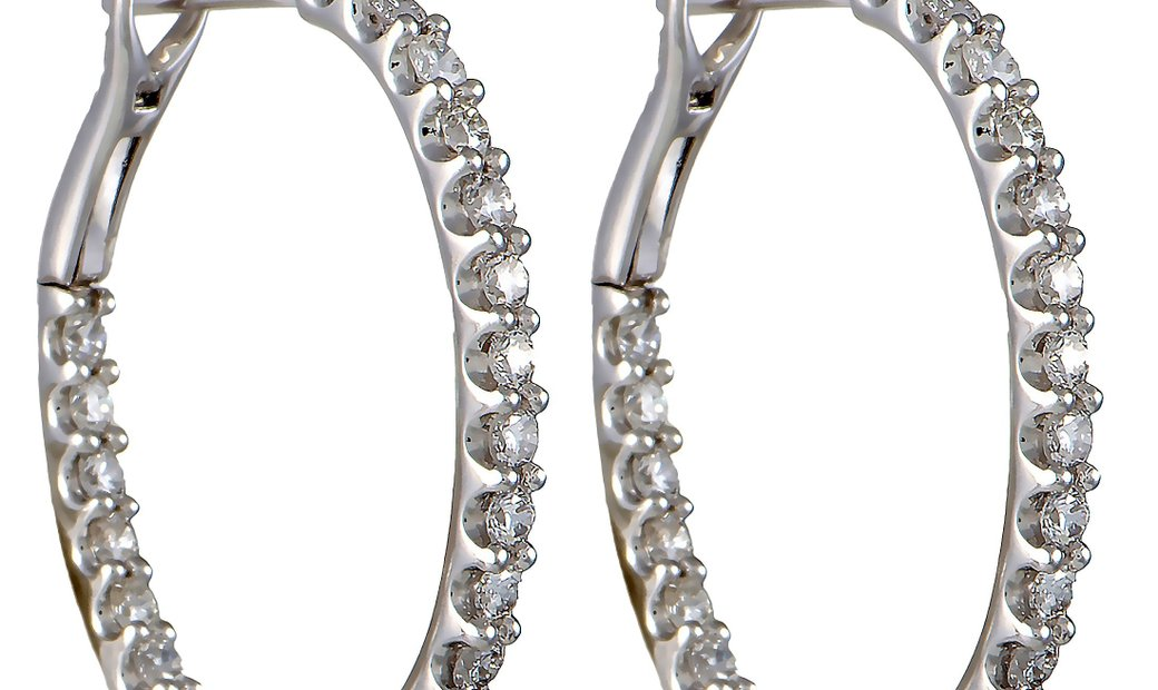 LB Exclusive LB Exclusive 18K White Gold 2.00ct Diamond Hoop Earrings