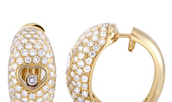 Chopard Chopard Happy Diamonds 18K Yellow Gold Floating Diamond Heart Earrings