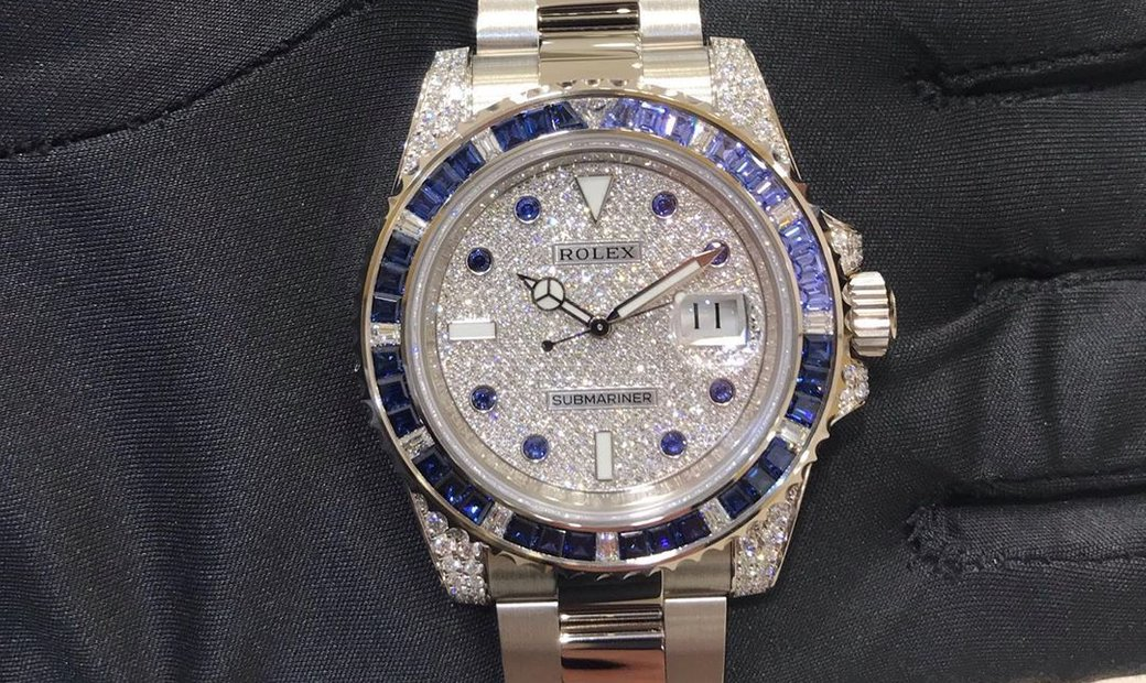 Rolex Submariner White Gold Sapphires and Diamonds 116659 SABR