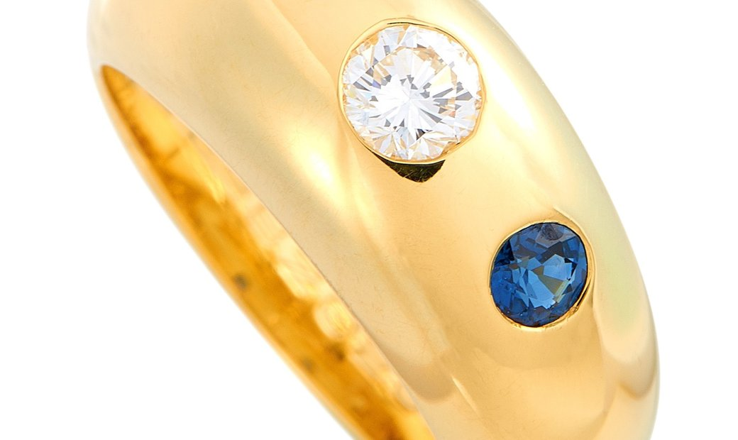 Cartier Cartier 18K Yellow Gold 0.25 ct Diamond and Sapphire Ring