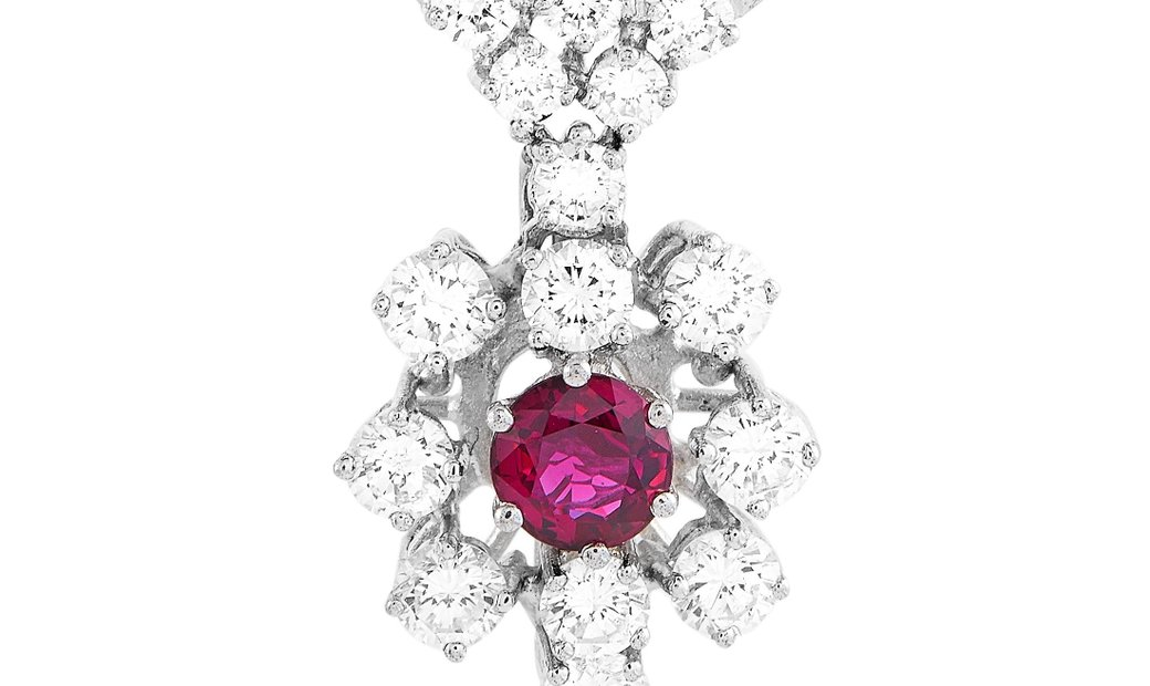 LB Exclusive LB Exclusive 14K White Gold 1.00 ct Diamond and Ruby Necklace