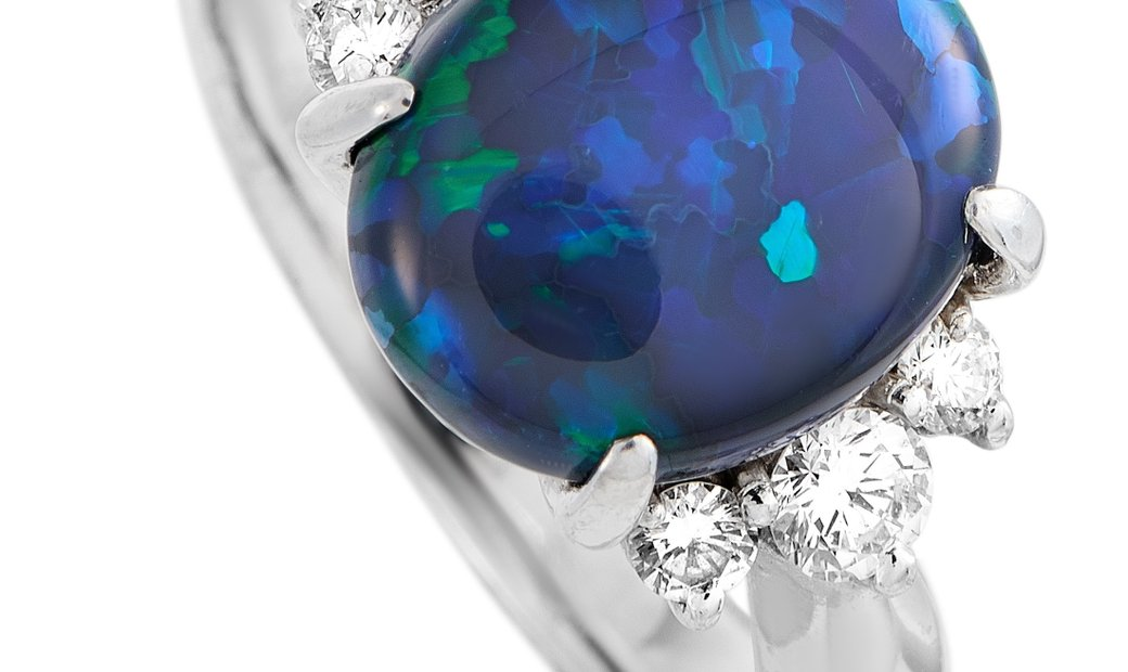 LB Exclusive LB Exclusive Platinum 0.37 ct Diamond and Opal Ring