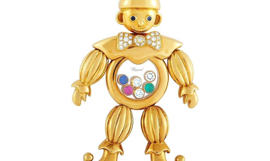 Chopard Chopard Happy Diamonds 18K Yellow Gold ~0.50 ct Diamond, Ruby, Sapphire and Emerald Clown Pe