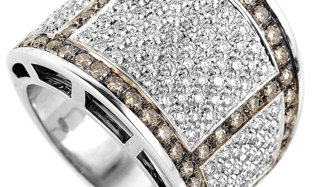 Salvini Salvini 18K White Gold Cognac & White Diamond Band Ring