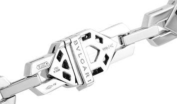 Bvlgari Bvlgari 18K White Gold Full Diamond Pave and Sapphire Snake Head Pendant Necklace