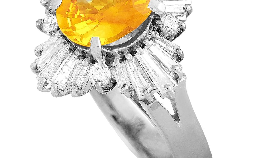 LB Exclusive LB Exclusive Platinum 0.90 ct Round/Tapered Baguette Diamonds and Yellow Sapphire Ring