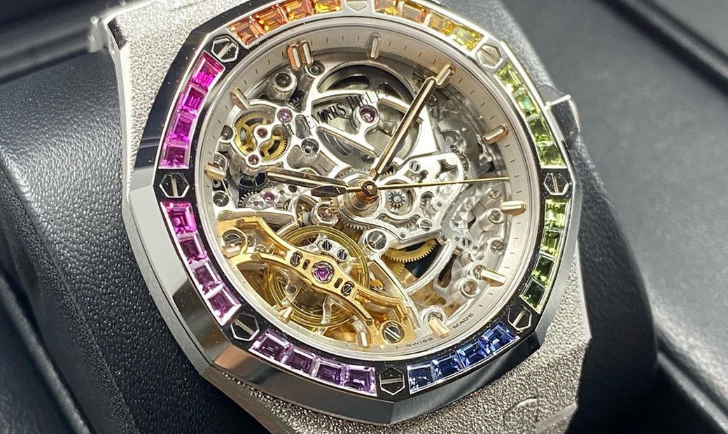 Audemars Piguet Royal Oak 15468BC.YG.1259BC.01  Openworked  Sapphires and White Gold