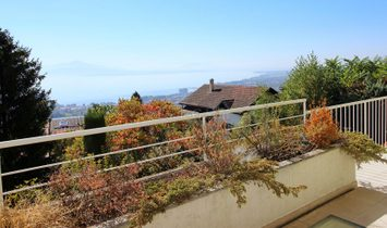 Architect house with panoramic views of Lake Geneva for sale, Bougy-Villars