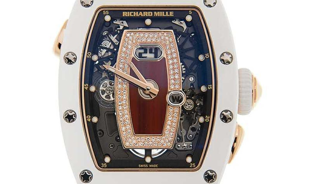 Richard Mille [NEW] RM 037 Ladies Automatic White Ceramic and Rose Gold Watch