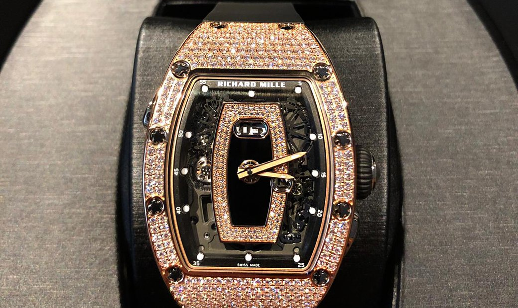 Richard Mille [NEW] RM 037 Rose Gold Ladies Full Pave Diamonds Automatic Watch