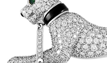 Cartier Cartier Panthère Vintage 18K White Gold Diamond, Onyx and Emerald Brooch